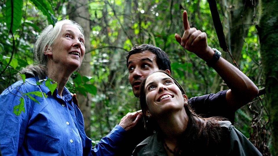 Jane Goodall con la ferrolana Rebeca Atencia y Fernando Turmo