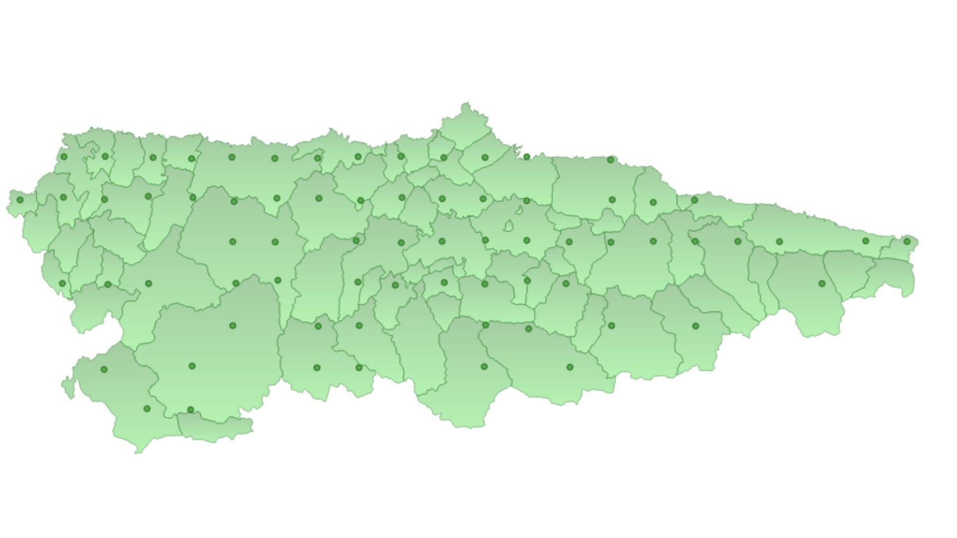 Mapa con los puntos del muestreo de las trampas de colores para la velutina que prueba el Principado