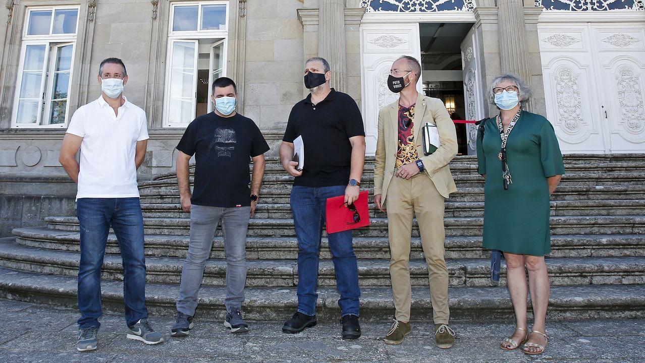 Miembros de Fanpa Pontevedra y de Foanpas Vigo, este viernes, en su comparecencia sobre los comedores escolares delante de la Diputación