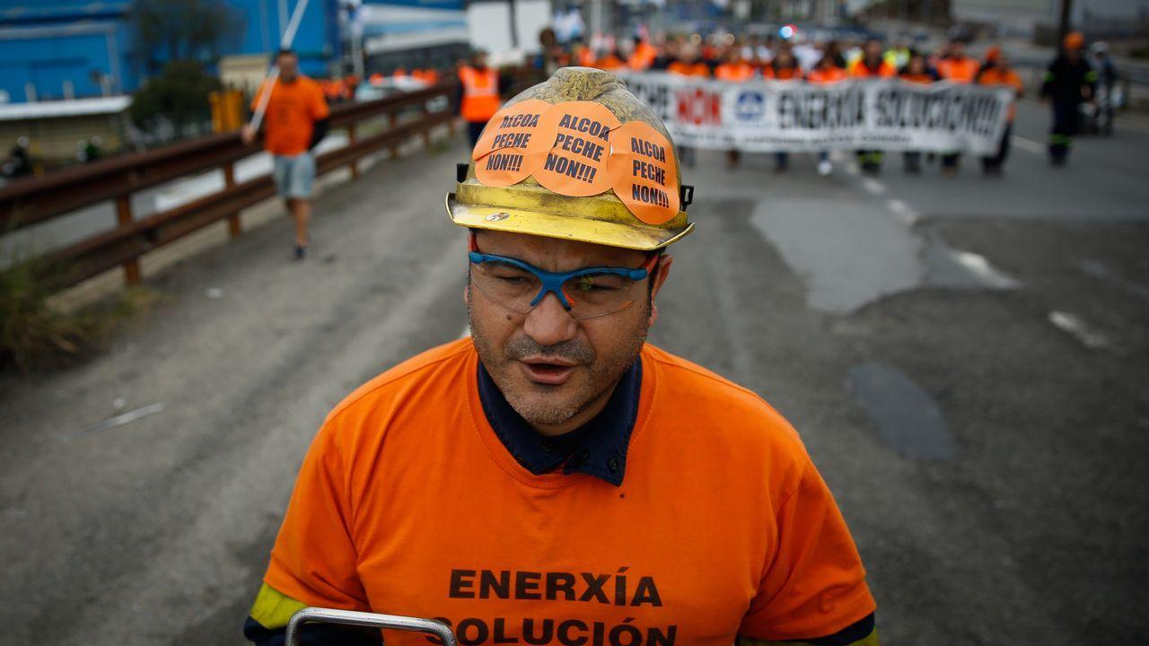 Manifestación de los trabajadores de Alcoa en A Coruña, esta tarde