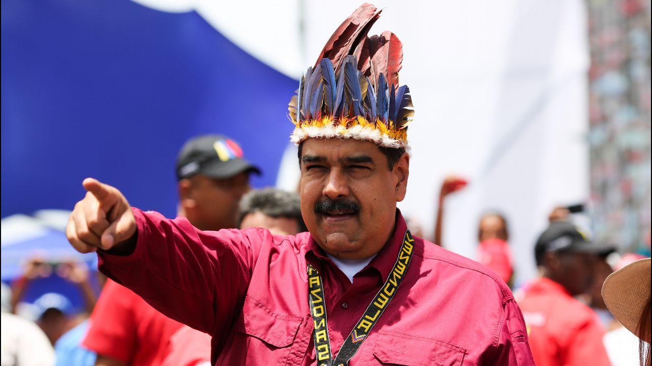 El presidente Maduro, durante un acto de campaña en Puerto Ayacucho. El país celebra elecciones presidenciales el próximo 20 de mayo