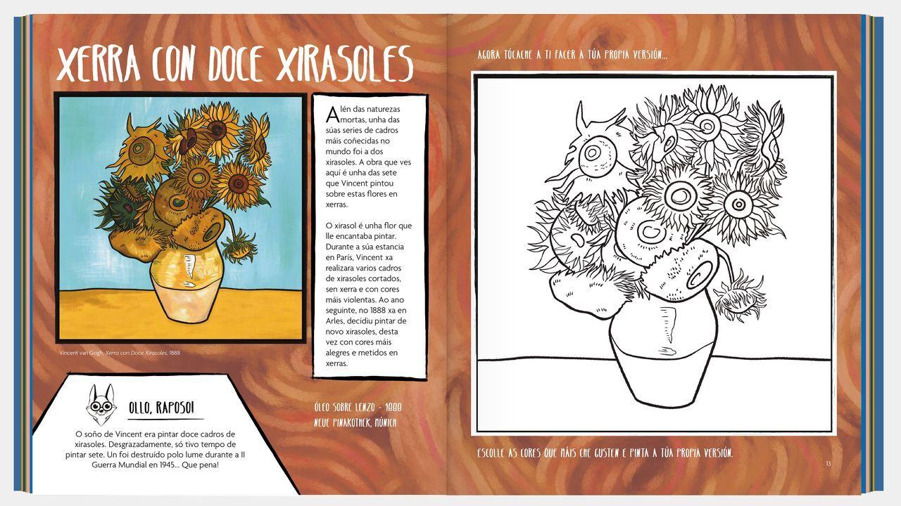 Homenaxe aXela Arias.Dos de las páginas dedicadas al libro de Van Gogh