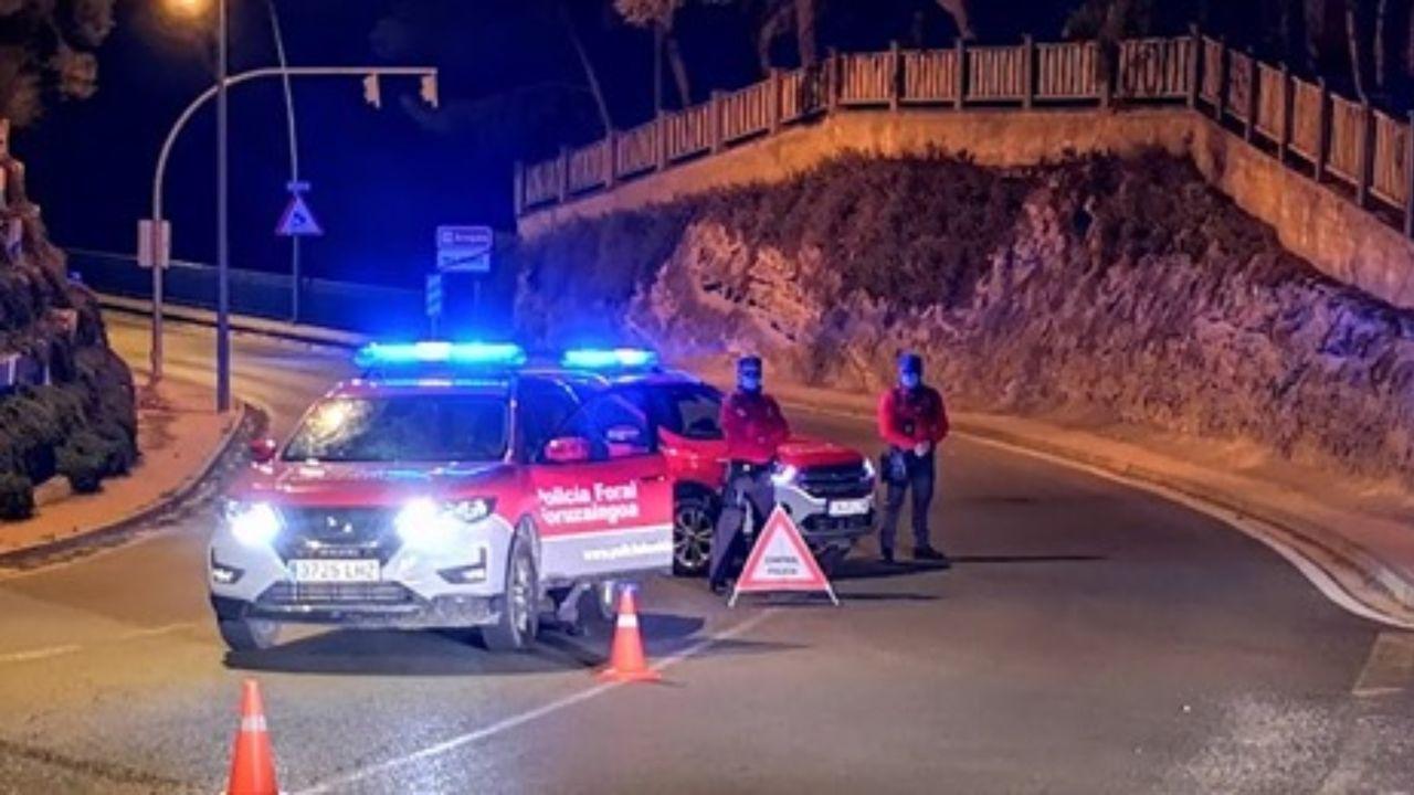 Un control de carretera de la Policía Foral de Navarra