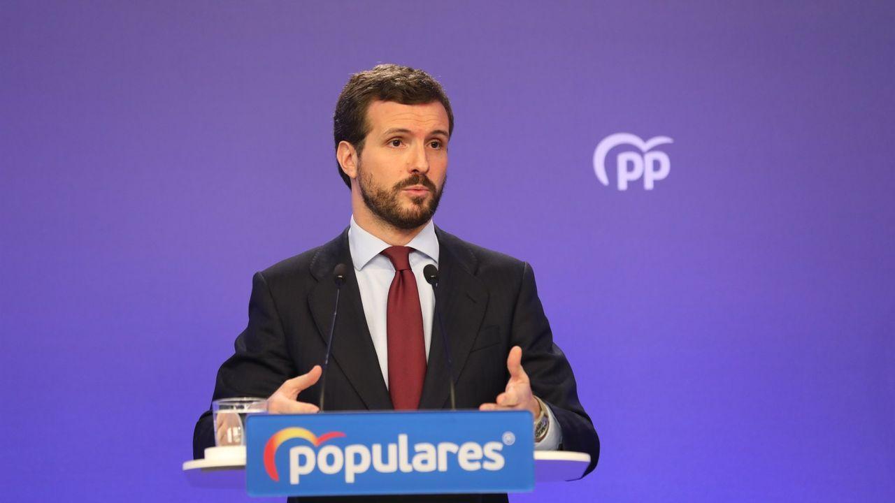 colegio Jacinto Benavente Gijón.El presidente del Partido Popular, Pablo Casado