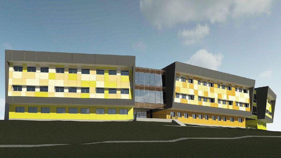 La fachada del futuro instituto de Secundaria de La Fresneda.La fachada del futuro instituto de Secundaria de La Fresneda