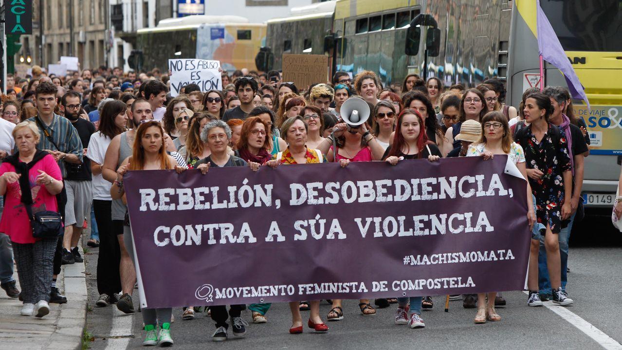 Manifestación en Santiago contra el autor de libertad de La Manada