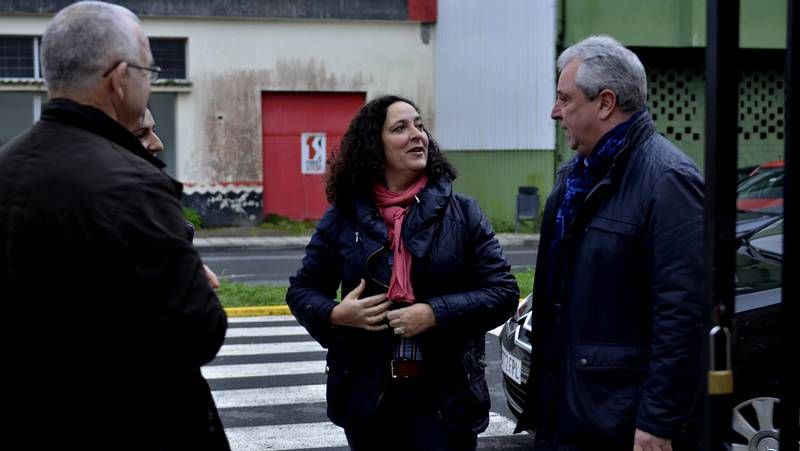 Nava Castro con los alcaldes durante la visita al Camiño.