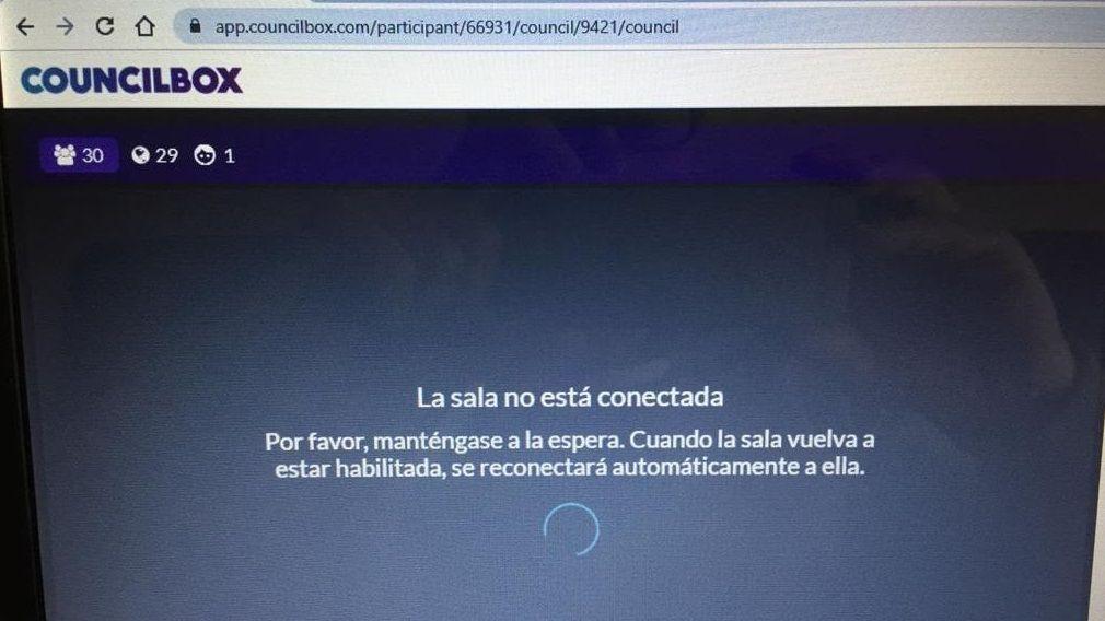 Mensaje de error en el sistema que el Concello de Ourense probó para tratar de organizar un pleno telemático