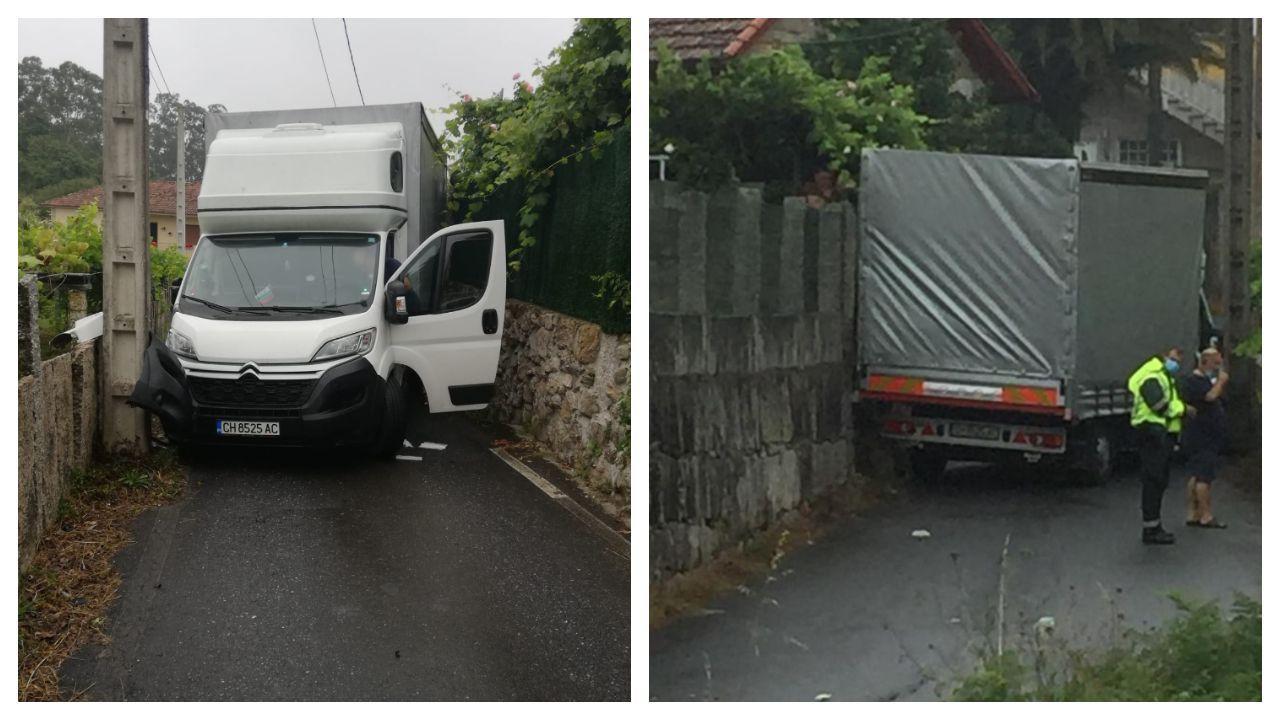El camión quedo atrapado entre dos muros de cierre tras chocar contra un poste eléctrico