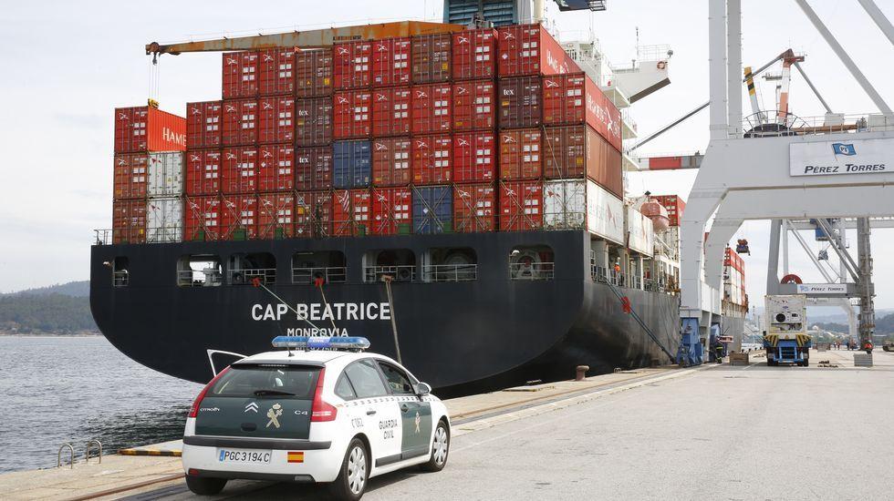 Barco Cap Beatrice en el puerto de Marin. Investigado por un alijo de droga