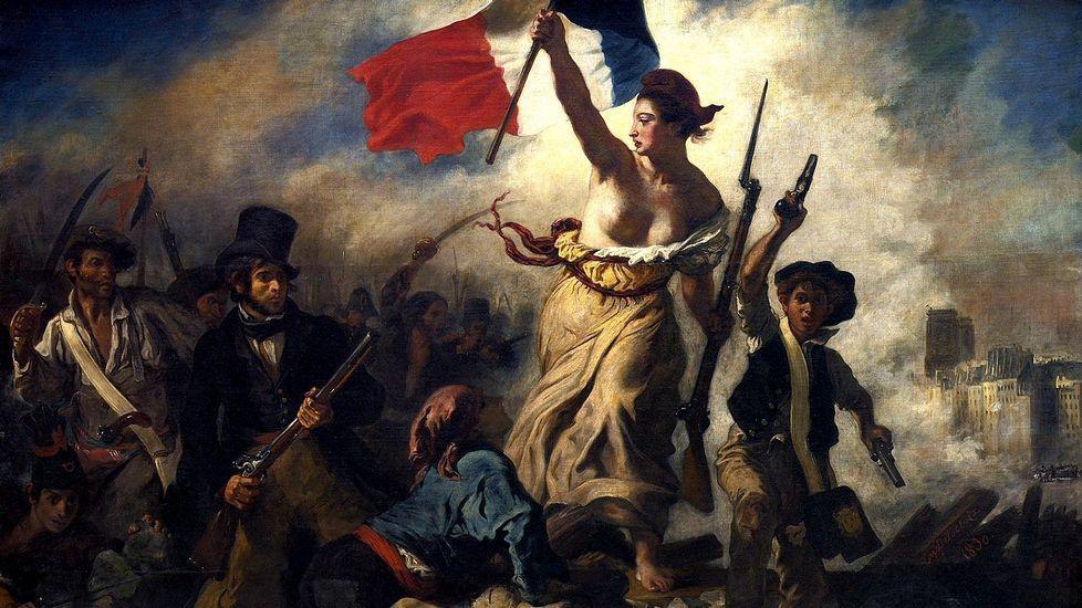 «La Libertad guiando al pueblo», cuadro de Eugène Delacroix, alegórico de los sucesos revolucionarios de julio de 1830 en París (Museo del Louvre)