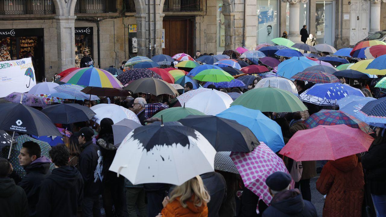 Los asistentes portaban paraguas de colores que alzaron al cielo al concluir la concentración