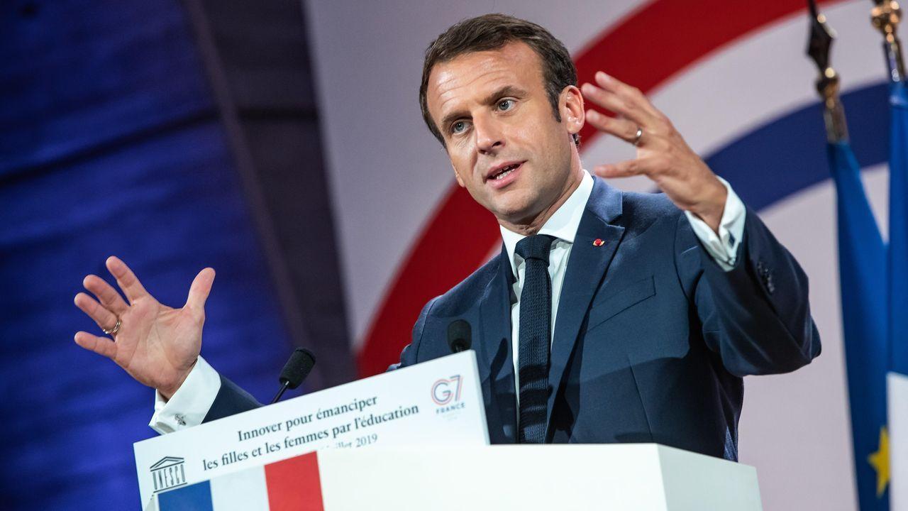 El presidente francés, Emmanuelle Macron, durante un discurso en la sede de la UNESCO.