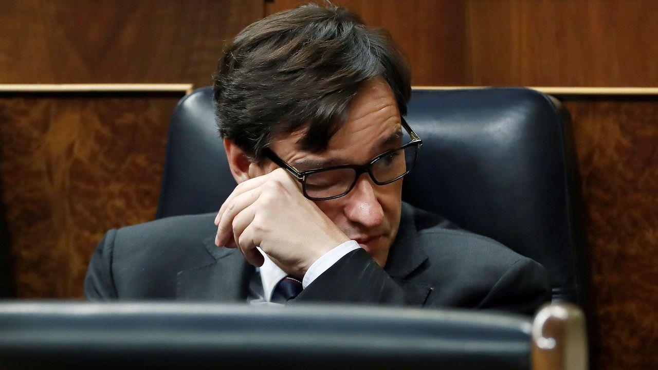 Sánchez anuncia el endurecimiento del confinamiento.Calvo, Iglesias y Calviño, durante un acto en el Congreso el pasado mes