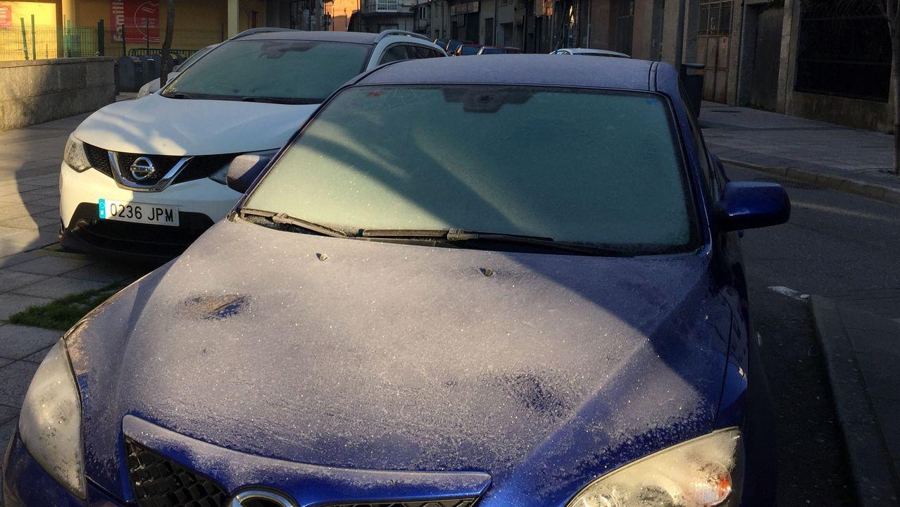 El rastro que dejó la helada siguió siendo visible esta mañana en numerosos automóviles