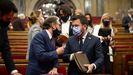 El presidente de la Generalitat, Pere Aragonès, y el consejero catalán de Economía y Hacienda, Jaume Giró, este miércoles, en el debate de política general del Parlamento catalán.