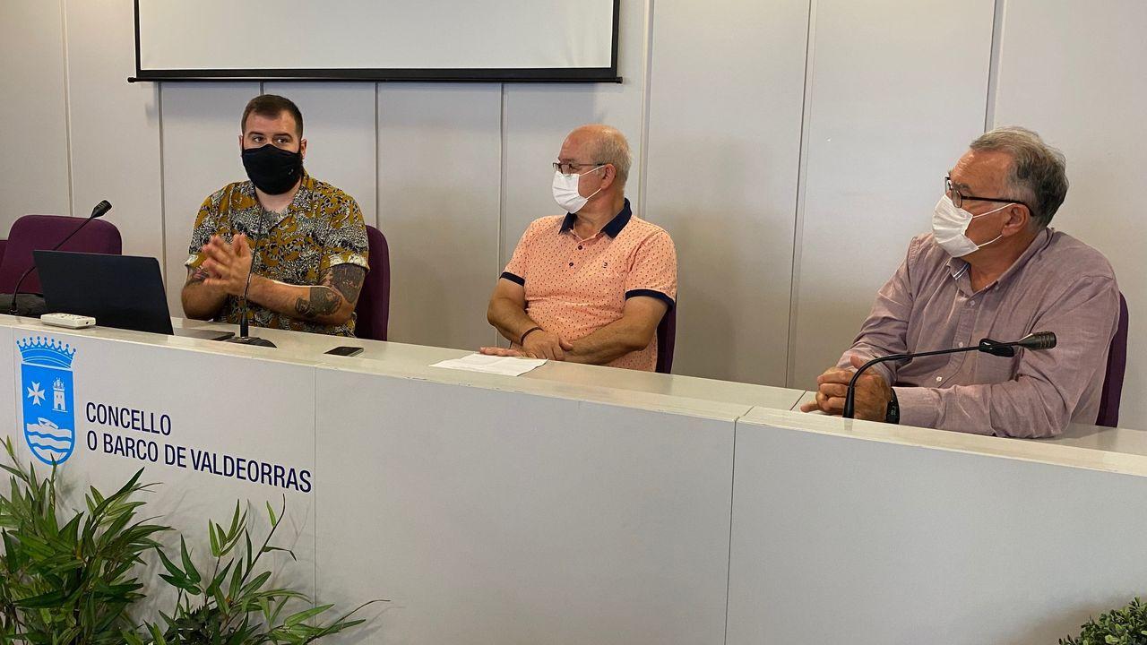 Así es el hotel más alto de Galicia.Miguel Riaño, Lalo Santos y Alfredo García, en la presentación del patrocinio.