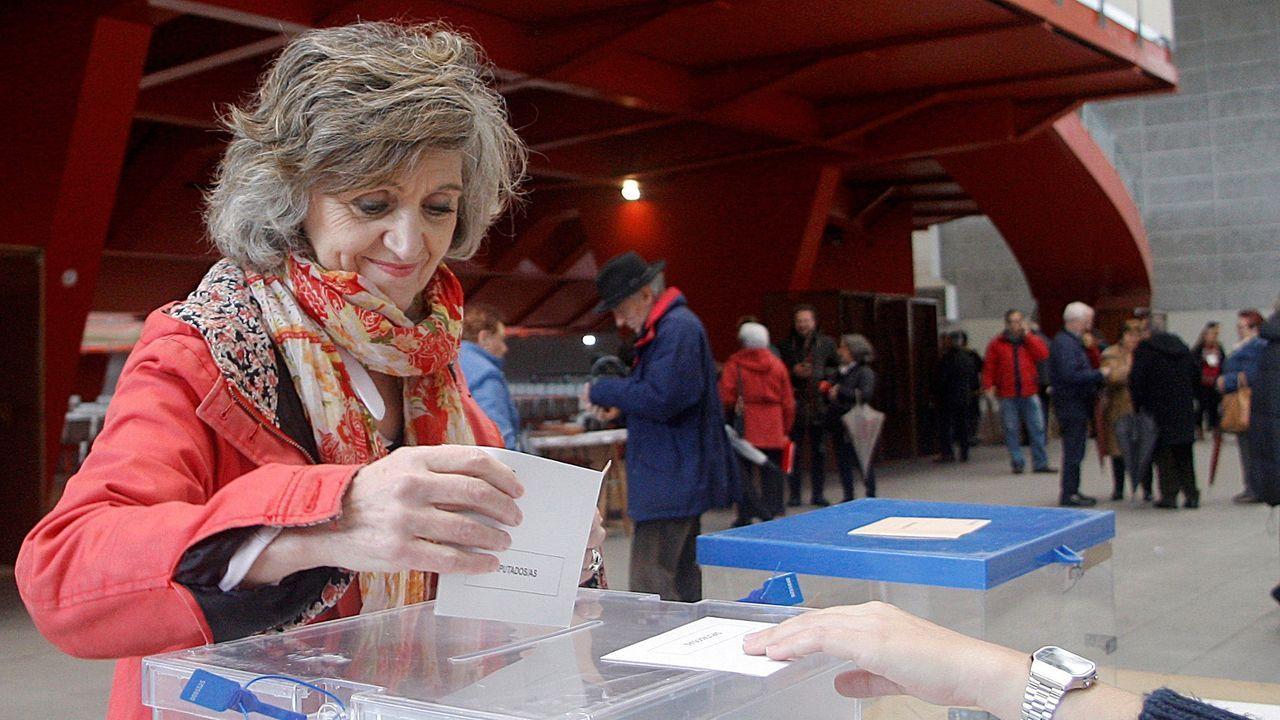 a ministra en funciones de Sanidad, Consumo y Bienestar Social, María Luisa Carcedo, ejerce su derecho a voto en un colegio electoral de Gijón