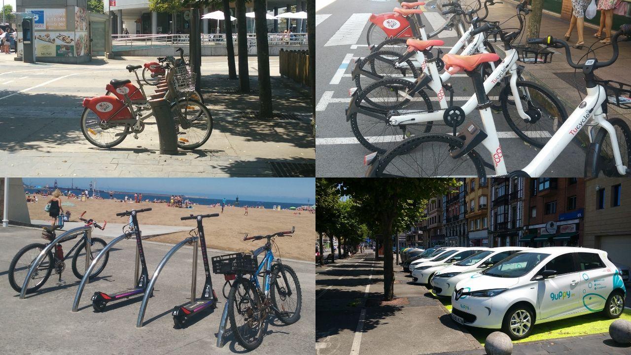Arriba, a la izquierda, las bicicletas gratuitas de Gijón-Bici y, a la derecha, las de Tucycle. Abajo, dos patinetes de Reby en aparcabicis de Poniente y los coches eléctricos de Guppy, en Fomento.