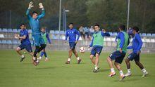 Forlín, Gorka, Alanís, Folch, Joselu y Bárcenas en un entrenamiento