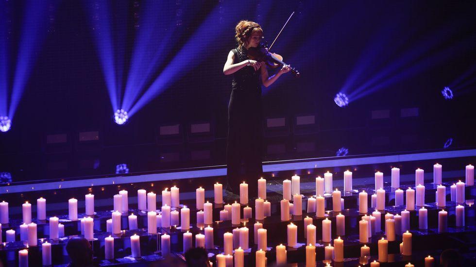 La violinista Lindsey Stirling, ayer en un homenaje en Berlín en los premios de la academia alemana de la música.
