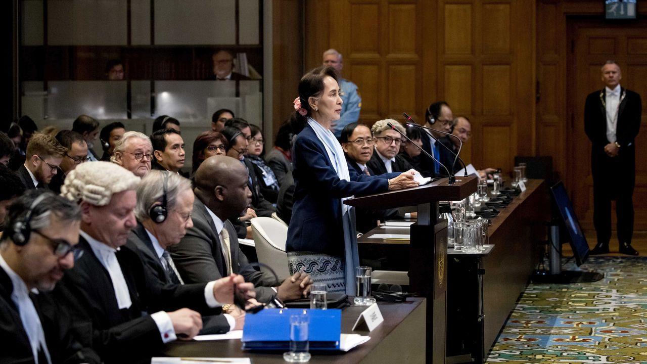 Suu Kyi compareció con un sobrio discurso ante los 17 jueces de la Corte Internacional de Justicia (CIJ)