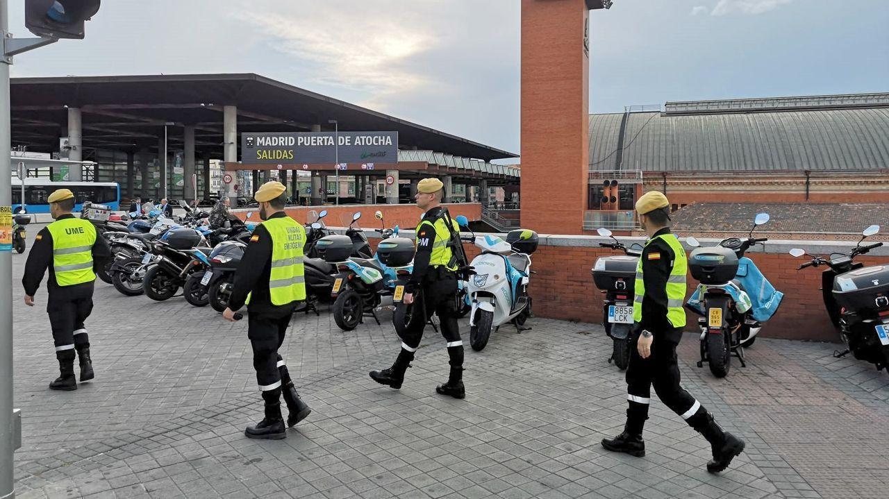 Militares de la UME, este lunes en la estación de Atocha