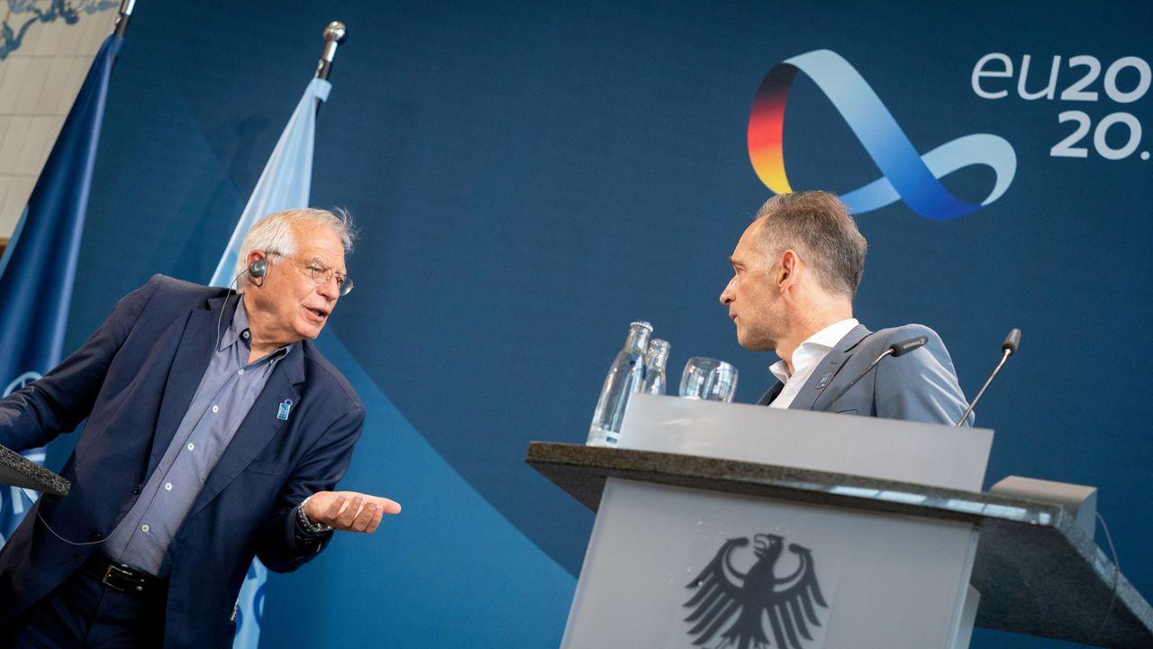 Josep Borrell, junto al ministro de Exteriores alemán, Heiko Maas