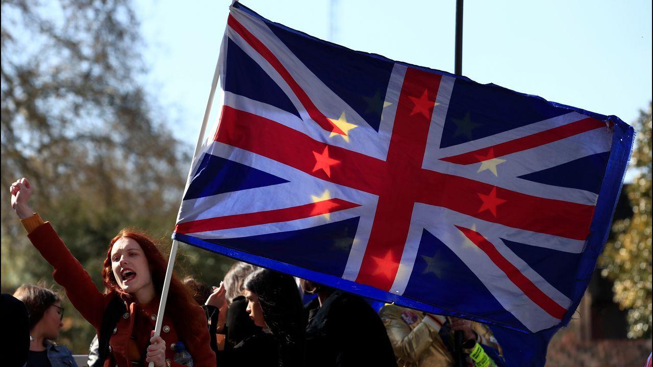 Una activista «antibrexit» en una de las habituales protestas frente a Westminster