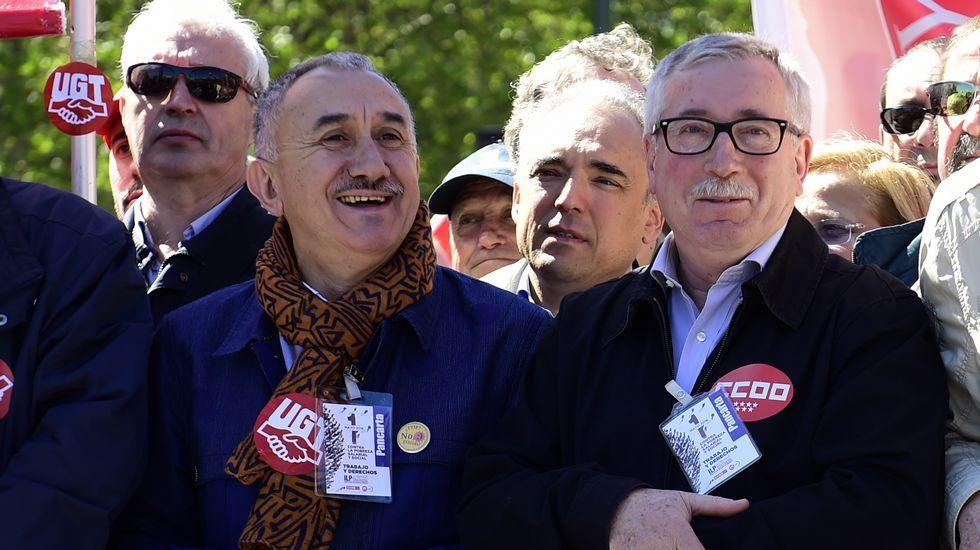 UGT y CC.OO exigen en las marchas del 1 de mayo un cambio urgente en las políticas económicas.Manifestación central en Vigo