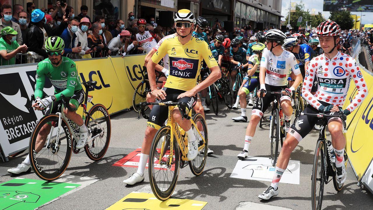 Momento previo a la caída del pasado sábado durante la primera etapa del Tour