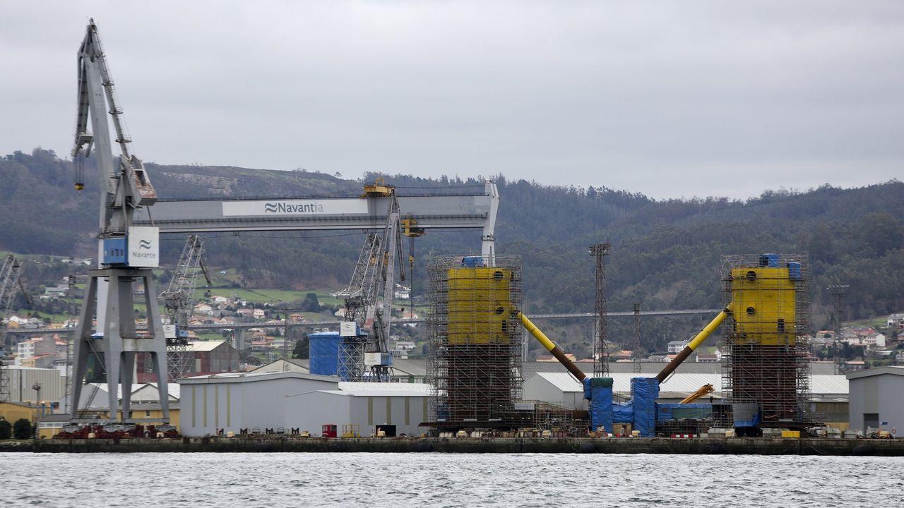 Protestas del comité de Navantia Ferrol, en la partida hacia Australia del buque Supply