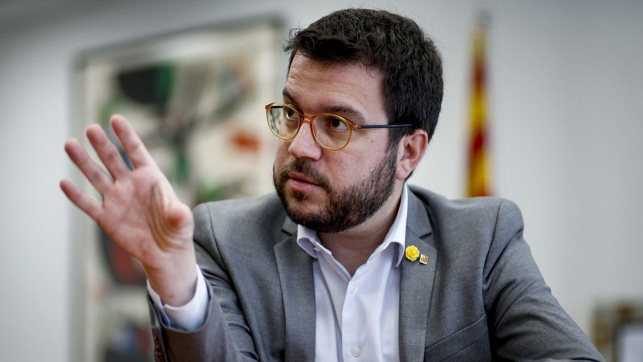 Imágenes de la intervenciónpolicial en la AP-7 y en el municipio de Salt.El vicepresidente de la Generalitat, Pere Aragonés (ERC)