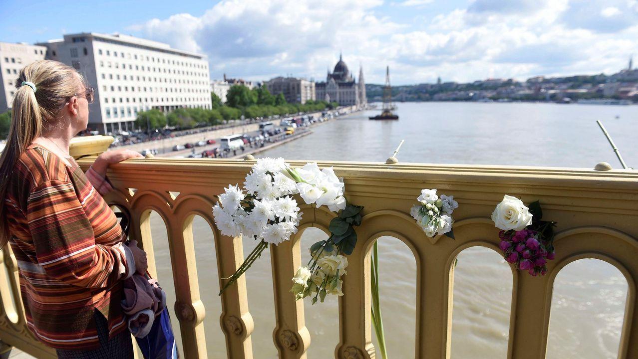 Flores en el puente Margarita en memoria de las víctimas del naufragio en el Danubio del pasado miércoles