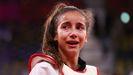 Las lágrimas de Adriana Cerezo tras caer en la final por solo un punto, tras recibir una patada al peto a cinco segundos del final