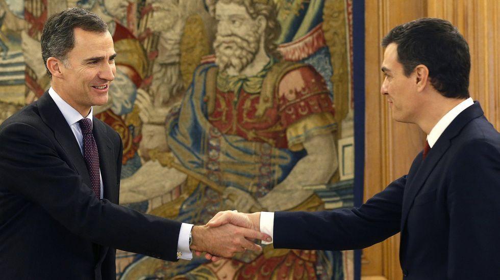 El rey recibe en Zarzuela a la portavoz de En Marea en el Congreso.El rey encarga a Sánchez la investidura (02/02/2016).