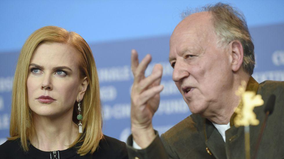 Nicole Kidman, con el director, Herzog