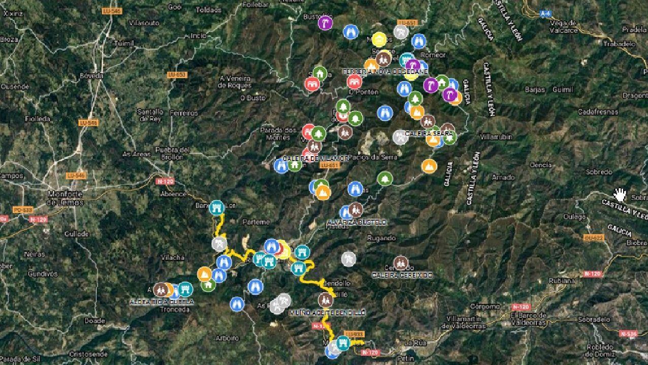 El mapa digital creado para divulgar los valores del geoparque Montañas do Courel identifica los puntos de interés del territorio con diferentes tipos de iconos, correspondientes a cada una de las diez categorías en las que se han agrupado estos lugares