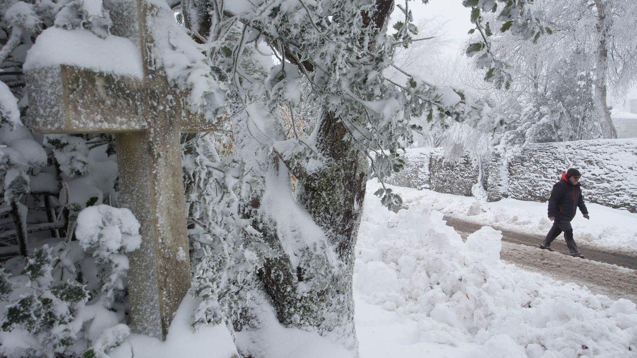 Una espesa capa helada cubría los coches estacionados en A Fonsagrada