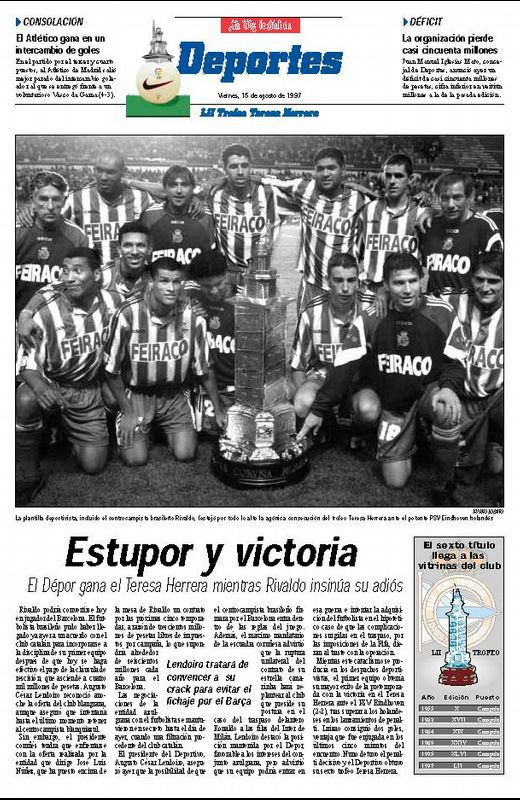 Pirmera página de Deportes de La Voz del 15-08-1997