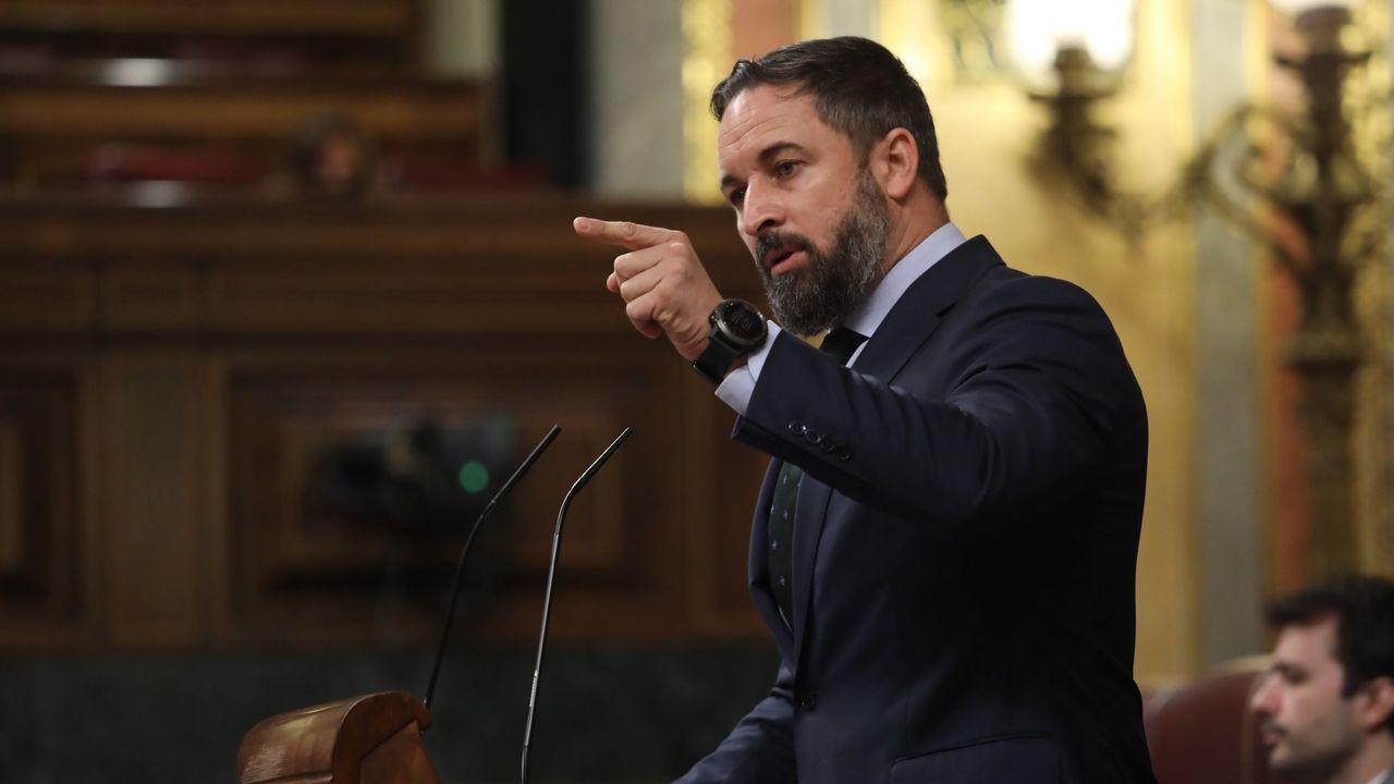El presidente de Vox, Santiago Abascal, interviniendo en una sesión plenaria en el Congreso el 29 de julio