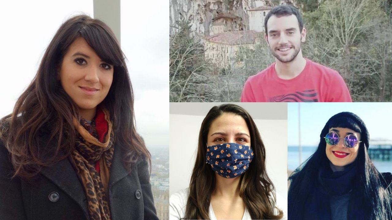 Los asturianos afincados en Reino Unido. De izquierda a derecha: Gloria González, Carlos González, Laura García y Laura Rodríguez