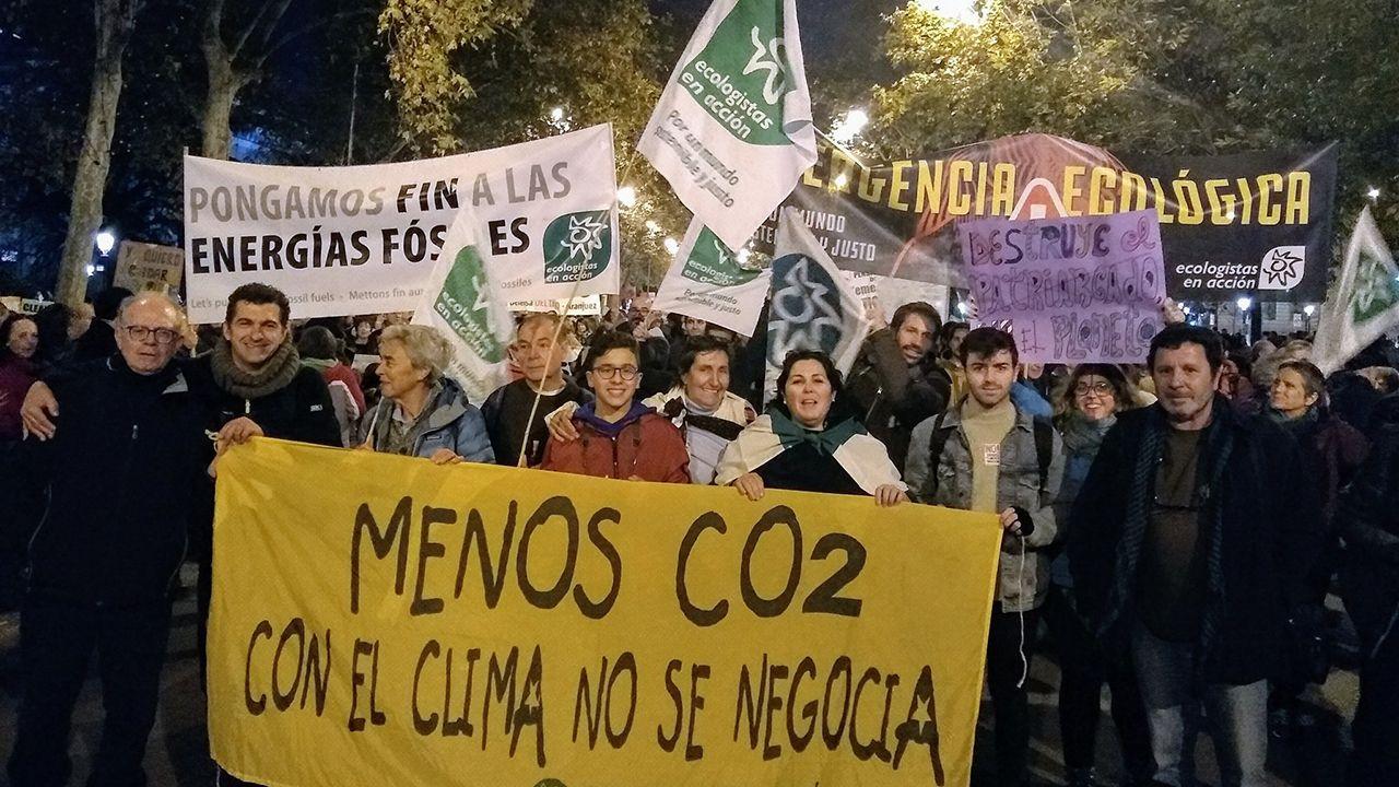 Manifestantes en la movilización por el clima, en Madrid
