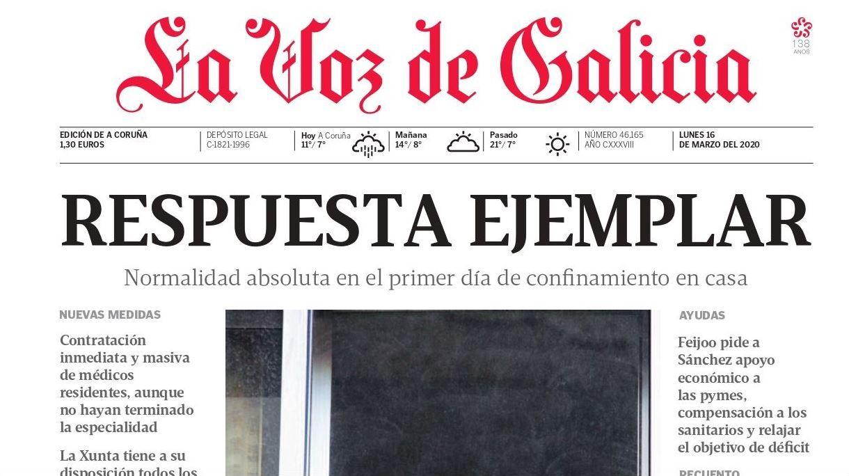 Empieza el cierre (16 marzo). El periódico es prácticamente un monográfico sobre la pandemia en el primer día de confinamiento. El coronavirus es protagonista en cada página