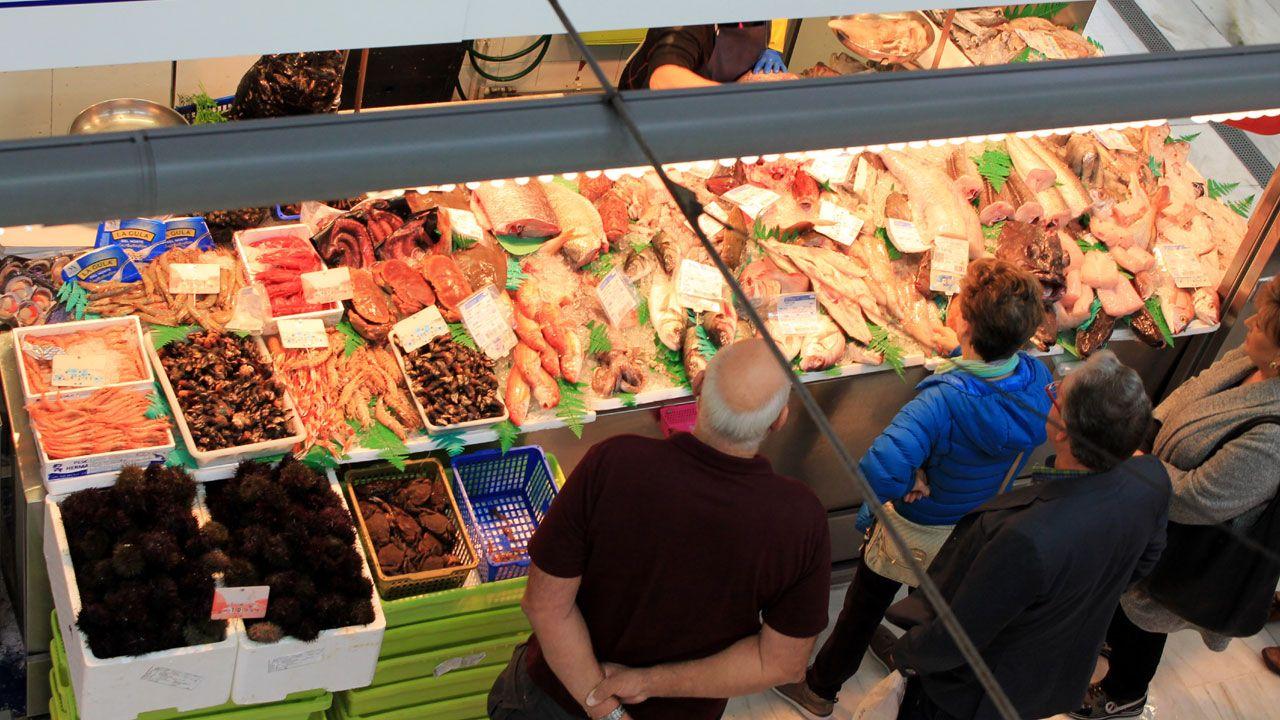 Pescadería en el Mercado del Sur, en Gijón
