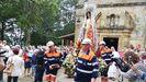 Antiguos miembros de la Brigada de Salvamento Minero llevando a la imagen en procesión, 8 de septiembre de 2019