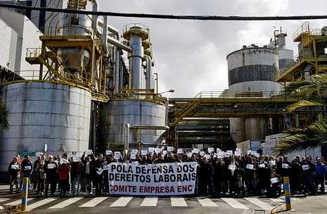 Las primeras protestas de la plantilla de Ence en Lourizán consistieron en concentraciones diarias.