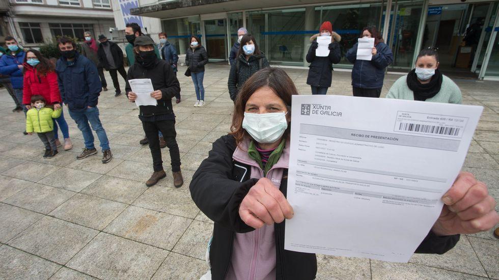 Los asistentes a la entrega de las firmas se concentraron ayer delante de la sede de la Xunta