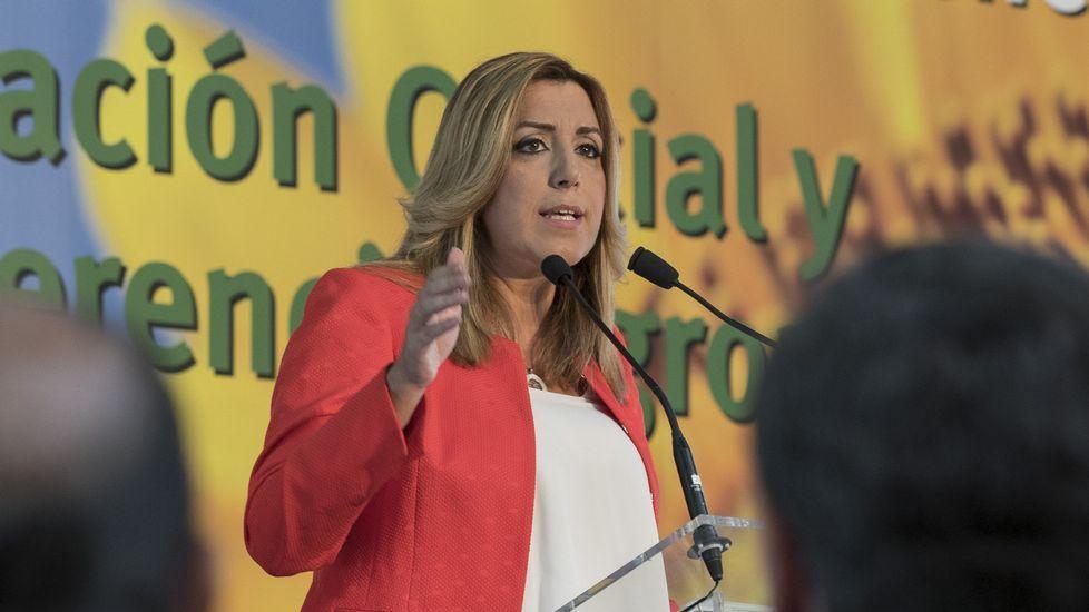 Susana Díaz, durante su intervención ayer en la inauguración en Sevilla de un centro de investigación del cultivo del girasol.