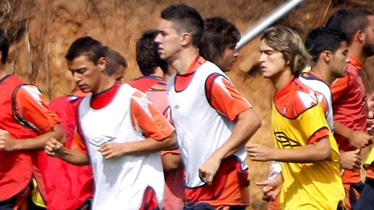 Kevin (izquierda) y Dennis (derecha) en un entrenamiento con el Celta B